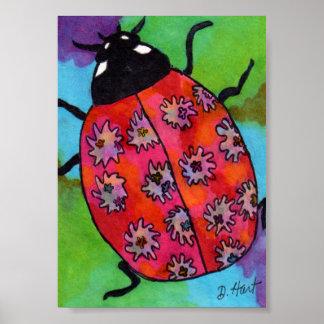 Tie Dye Splash Watercolor Ladybug Mini Folk Art Poster
