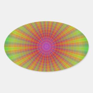 Tie Dye Starburst Abstract Rainbow Oval Sticker