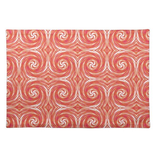Tie-Dye Style Swirls Pattern in Orange and Pink Placemat