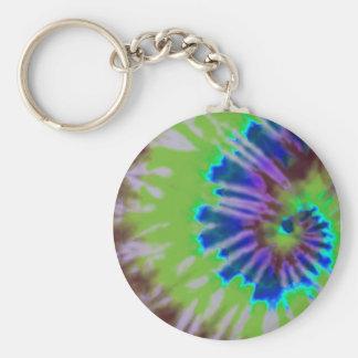 tie-dye swirl basic round button keychain