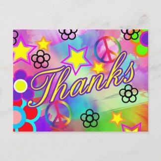 Tie-dye thank you card zazzle_postcard