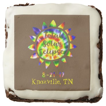 USA Themed Tie Dye Total Solar Eclipse Brownie with location
