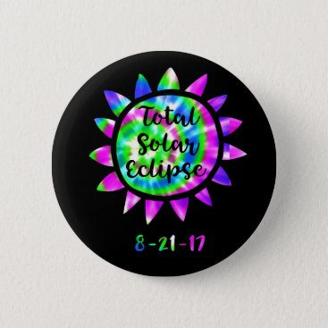 Tie Dye Total Solar Eclipse Button