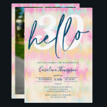 """Tie dye unicorn rainbow pastel font photo hello 30 invitation<br><div class=""""desc"""">Hello 30! Looking for the perfect and coolest tie dye 30th birthday party invitation? Get this trendy and boho hand painted tie dye pastel unicorn and rainbow with a border script photo 30th birthday invitation, add your photo at the back with an elegant signature script. Just contact me if you...</div>"""