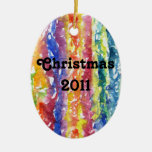 Tie Dye Watercolor Painting Background Christmas Tree Ornaments