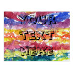 Tie Dye Watercolor Painting Background Post Cards