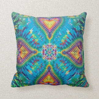 Tie dye with hearts throw pillow