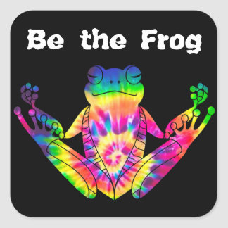 Tie Dye Zen Frog Square Sticker