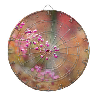 Tie Dyed Berries In Pink Orange And Gold Dartboard With Darts