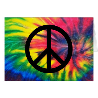 Tie Dyed Black Peace Sign Card