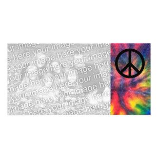 Tie Dyed Black Peace Sign Custom Photo Card