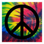 Tie Dyed Black Peace Sign Posters