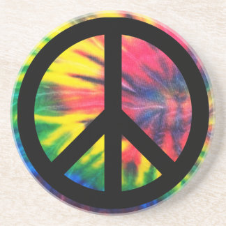Tie Dyed Black Peace Sign Sandstone Coaster