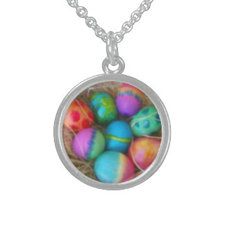 Tie Dyed Eggs Silver Necklace