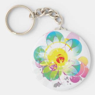 Tie Dyed Flowers Keychain