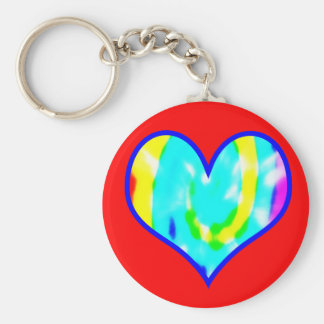 Tie Dyed Heart Keychain