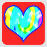Tie Dyed Heart Square Sticker