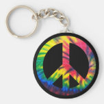 Tie Dyed Peace Basic Round Button Keychain