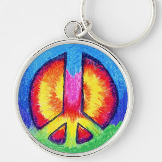 Tie~Dyed Peace Key Chain