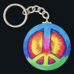 "Tie~Dyed Peace Keychain<br><div class=""desc"">A tie~dyed peace sign that makes a bright way to keep track of your keys! You can check out this peace sign on other cool products too!</div>"