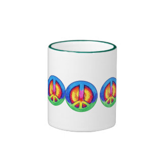 Tie~Dyed Peace Ringer Coffee Mug