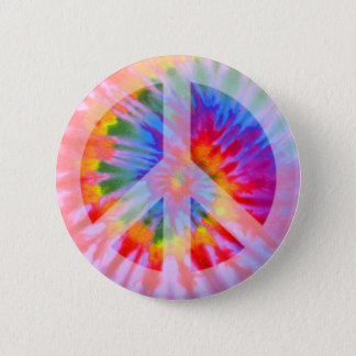 Tie Dyed Peace Sign Button