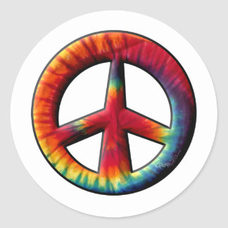 Tie Dyed Peace Sign Classic Round Sticker
