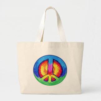 Tie~Dyed Peace Sign Tote Bags