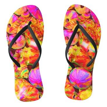 Beach Themed Tie-Dyed Shells Flip Flops