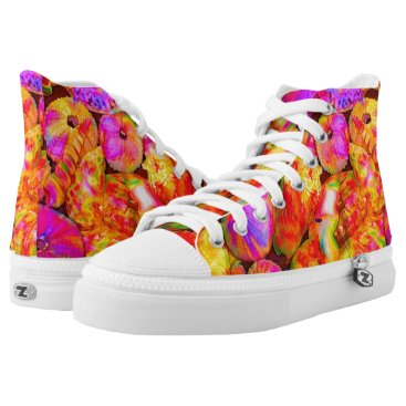 Beach Themed Tie-Dyed Shells High-Top Sneakers