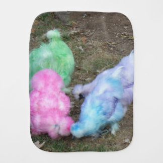 Tie Dyed Silkie Chickens in Pastel Easter Colors Baby Burp Cloth