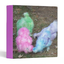 Tie Dyed Silkie Chickens in Pastel Easter Colors Binder