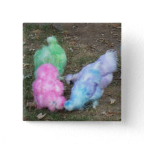 Tie Dyed Silkie Chickens in Pastel Easter Colors Button