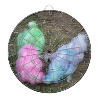 Tie Dyed Silkie Chickens in Pastel Easter Colors Dartboard