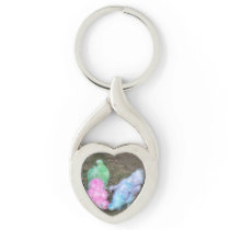 Tie Dyed Silkie Chickens in Pastel Easter Colors Keychain