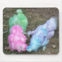 Tie Dyed Silkie Chickens in Pastel Easter Colors Mouse Pad