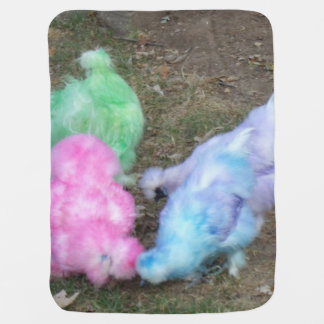 Tie Dyed Silkie Chickens in Pastel Easter Colors Receiving Blanket