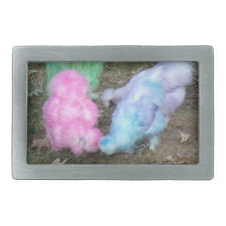 Tie Dyed Silkie Chickens in Pastel Easter Colors Rectangular Belt Buckle