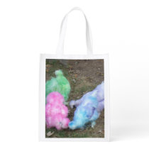 Tie Dyed Silkie Chickens in Pastel Easter Colors Reusable Grocery Bag