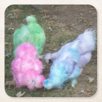 Tie Dyed Silkie Chickens in Pastel Easter Colors Square Paper Coaster