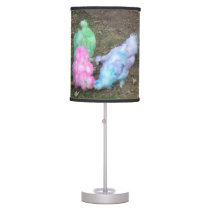 Tie Dyed Silkie Chickens in Pastel Easter Colors Table Lamp