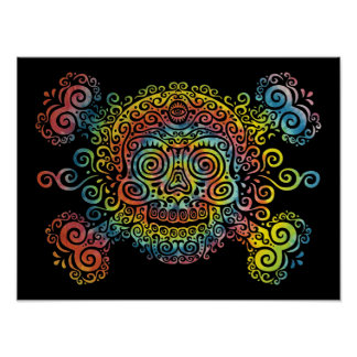 Tie-Dyed Sugar Skull Poster
