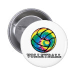 Tie-Dyed Volleyball Pinback Buttons