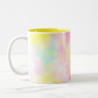 Tie Dyed Yellow Watercolor-like Batik texture Two-Tone Coffee Mug