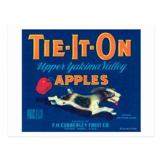 Tie It On Apple Label (blue) - Tieton, WA Postcard