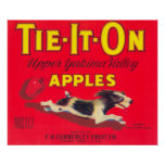 Tie It On Apple Label (red) - Tieton, WA Poster