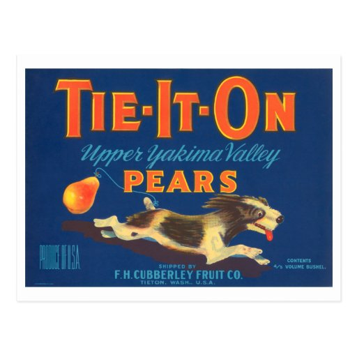 Tie It On Pears Vintage Fruit Crate Label Postcard