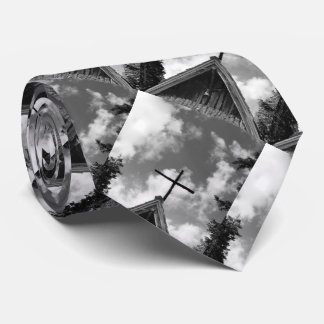Tie, Old Country Church. Black and White Tie