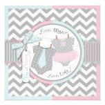 Tie or Tutu & Chevron Print Gender Reveal Party Personalized Invites