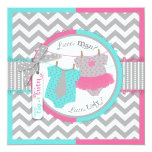 Tie or Tutu & Chevron Print Gender Reveal Party Custom Announcements